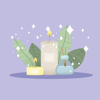 Spa en aromatherapie kaarsen pictogrammen Premium Vector