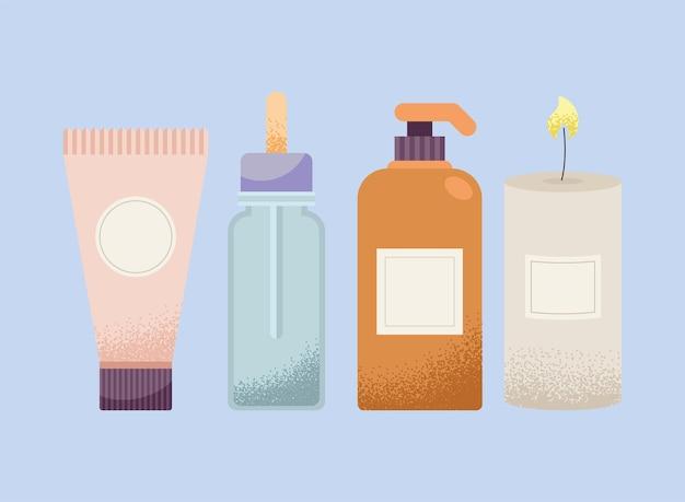Spa en flessen met pictogrammen voor behandelingen