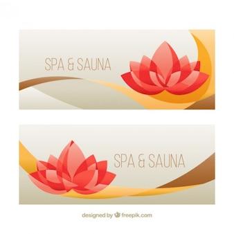 Spa en sauna bloemen banners in abstracte stijl