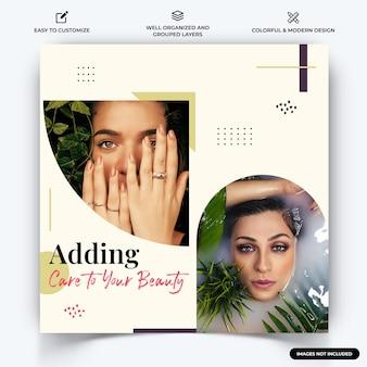 Spa en schoonheid instagram post webbanner sjabloon vector premium vector