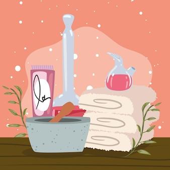 Spa handdoeken en crème