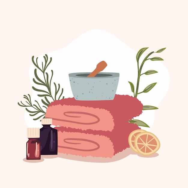 Spa handdoeken en sinaasappels