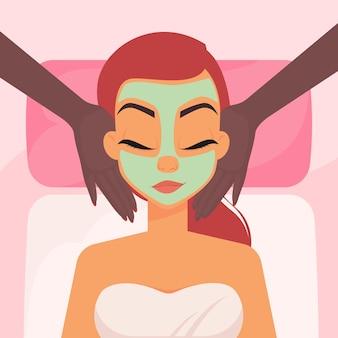 Spa huidverzorging routine vrouw gezichtsmassage doen