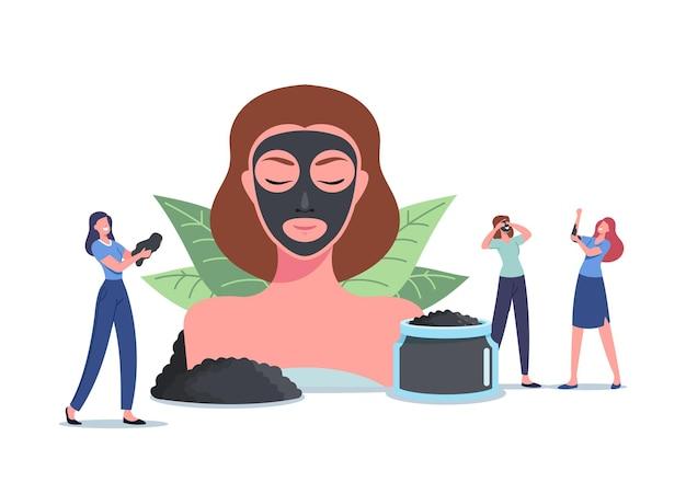 Spa natuurlijke baden, schoonheid en cosmetologie. kleine vrouwelijke personages rond enorm vrouwenhoofd met gezichtsmasker van minerale modder, houtskoolcrème, gezichtsverzorging en -behandeling. cartoon mensen vectorillustratie