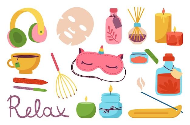 Spa ontspanningssalon cartoon set aromatherapie spa kaars slaapmasker en theekop hoofdtelefoon
