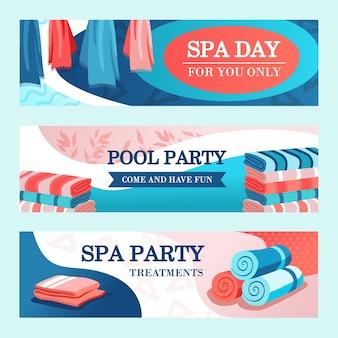 Spa party banners ontwerpen met handdoeken. heldere, moderne folder met opgerolde en gestapelde handdoeken. spa- en ontspanningsconcept. sjabloon voor poster, promotie of webdesign