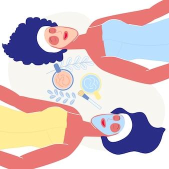 Spa resort procedure platte vectorillustratie