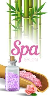 Spa salon belettering, bamboe en zout in schep en fles.