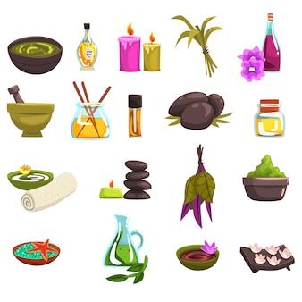 Spa salon en lichaamsverzorging elementen instellen. olie en kruiden, kaarsen, zeezout, warme stenen, handdoek, bloemen. schoonheidsprocedures wellness pictogrammen. collectie op wit.