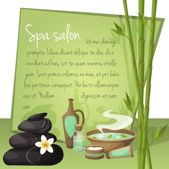 Spa salon illustratie met tekstsjabloon