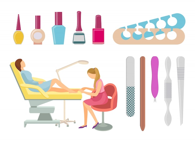 Spa salon pedicure procedures pictogrammen set vector