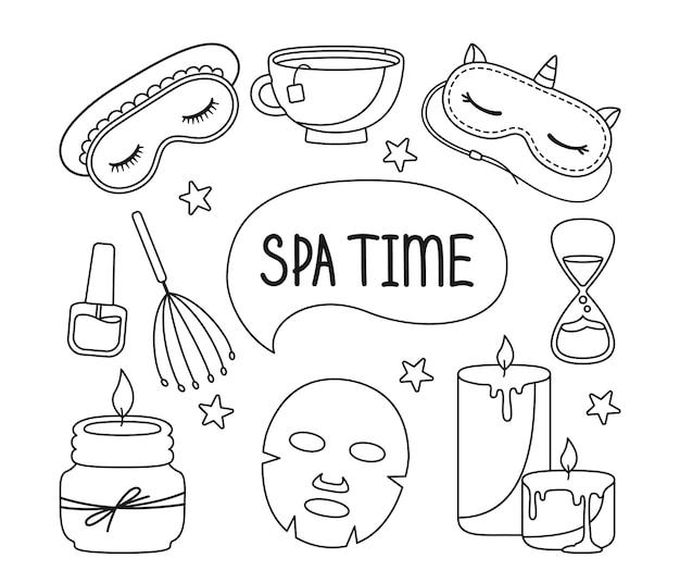 Spa schoonheid huidverzorging salon doodle set aromatische kaars slaapmasker zandloper thee beker me tijd concept