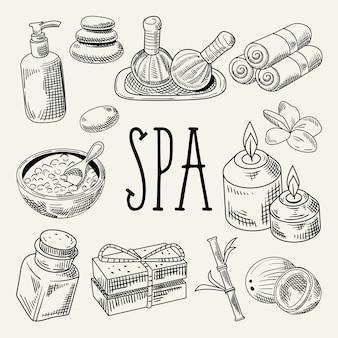 Spa wellness beauty hand getrokken
