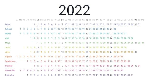 Spaanse 2022 kalender lineaire horizontale planner voor jaarweek begint maandag mond