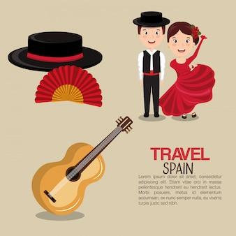 Spaanse cultuur iconen geïsoleerde pictogram ontwerp
