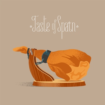 Spaanse jamon illustratie. droog genezen varkensbeen voor het beeld van het fijnproeversconcept.