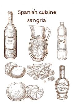 Spaanse keuken. sangria ingrediënten vector schets.