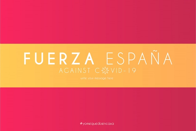 Spaanse vlag met ondersteuningsbericht tegen covid-19