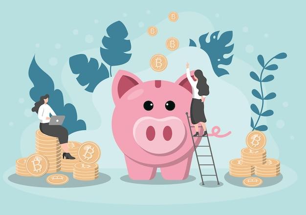 Spaarpot varken informatie-uitwisseling technologie illustratie