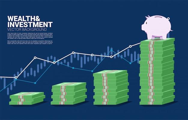 Spaarvarken bovenop grafiek van geldstapel