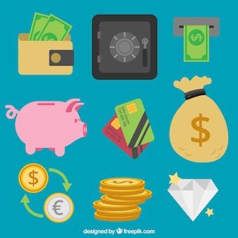 Spaarvarken collectie met andere geld artikelen
