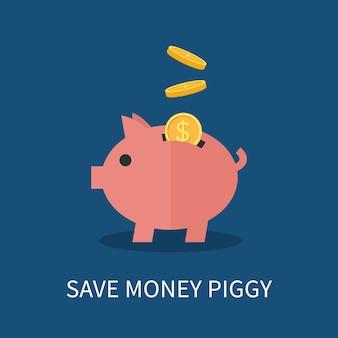 Spaarvarken en gouden munten. geld concept opslaan en investeren.