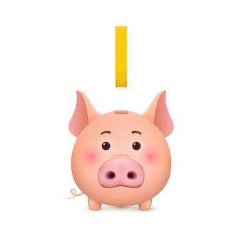 Spaarvarken en gouden munten. spaarpot. illustratie