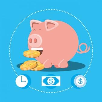 Spaarvarken en munten geïsoleerd pictogram