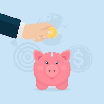 Spaarvarken geïsoleerd. zakelijke man houdt gouden munten. geld besparen. investering bij pensionering. rijkdom, inkomen concept. deposito's sparen. contant geld vallen in de spaarpot