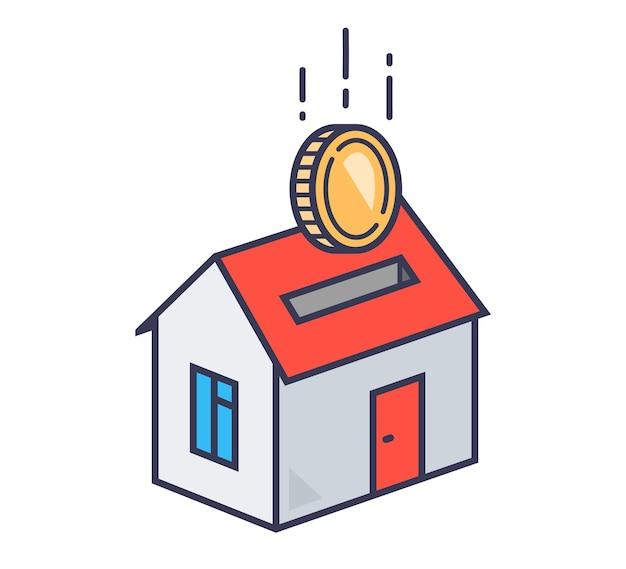 Spaarvarken in de vorm van een huisje waarin de munt valt. hypotheek. vector illustratie