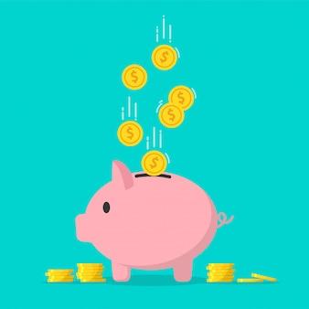 Spaarvarken met dalende gouden munten in vlakke stijl voor het besparen van geld voor toekomstige concepten.