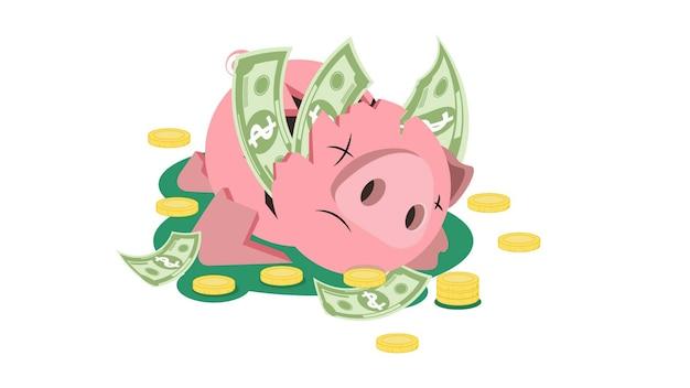 Spaarvarken met follars en munten geïsoleerde vectorillustratie