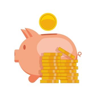 Spaarvarken met munt vectorillustratie. pictogram spaarvarken