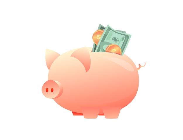Spaarvarken met papiergeld op geïsoleerde achtergrond