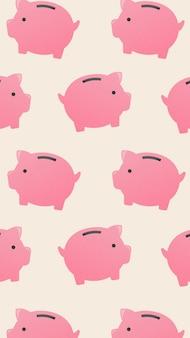 Spaarvarken mobiel behang, schattig geld financiën illustratie vector