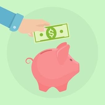 Spaarvarken op achtergrond. de munt van de bedrijfsmensengreep. geld besparen. investering bij pensionering. rijkdom, inkomen concept. deposito's sparen. contant geld vallen in de spaarpot