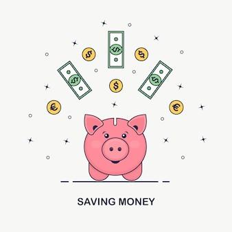 Spaarvarken op witte achtergrond. zakenman houdt gouden munten, valuta. geld besparen. investering bij pensionering. rijkdom, inkomen concept. deposito's sparen. contant geld vallen in de spaarpot.