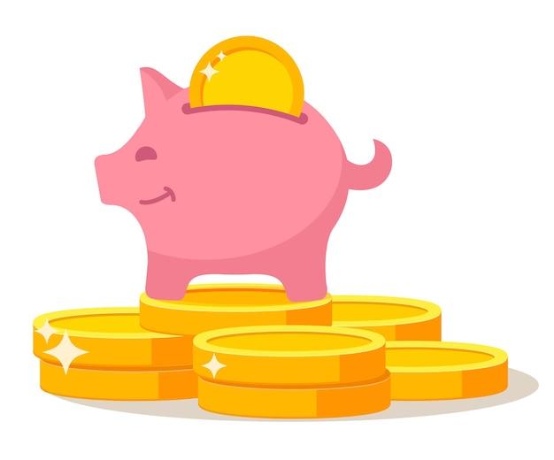 Spaarvarken staande op munten stapel dollar roze varken met gouden munten investering en accumulatie