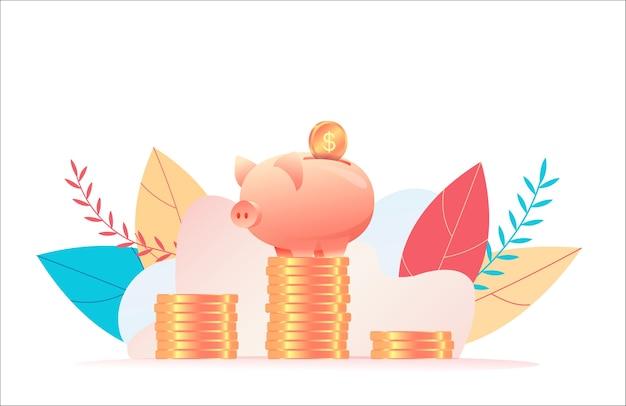 Spaarvarken staat op stapel enorme munten