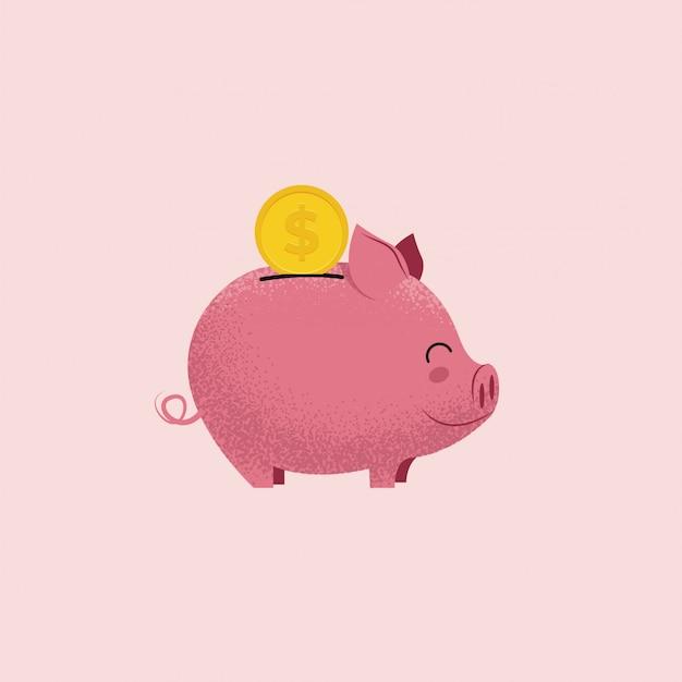 Spaarvarken. varkensspaarpot met muntstuk op roze achtergrond wordt geïsoleerd die. geld besparen of donatie concept.