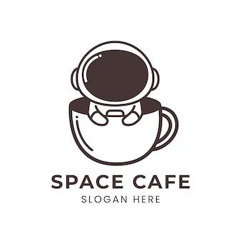 Space cafe-logo met schattige astronaut
