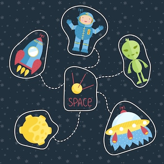 Space cartoon style vector concept