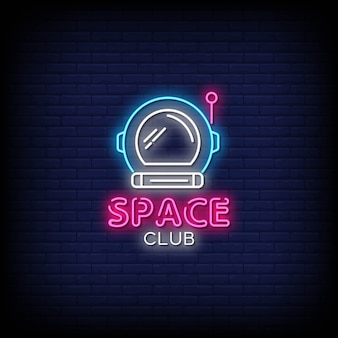 Space club neon signs style text
