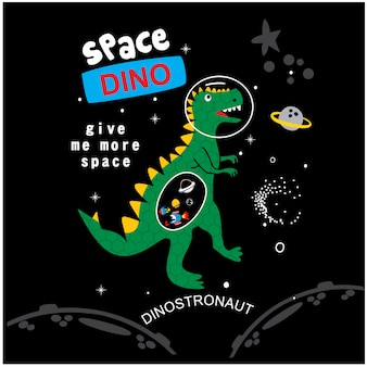 Space dino cartoon vector