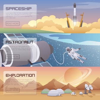 Space discovery horizontal banners