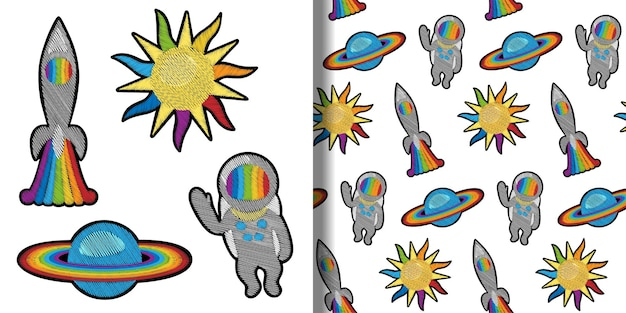 Space embroidery patch-set en naadloos patroon