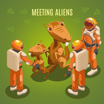 Space exploration meeting aliens composition