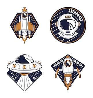 Space explorer astronaut helm, ufo en ruimteschip design badge pictogrammen