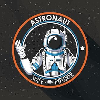 Space explorer patch embleem ontwerp