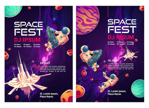 Space fest cartoon flyers, uitnodiging om te feesten